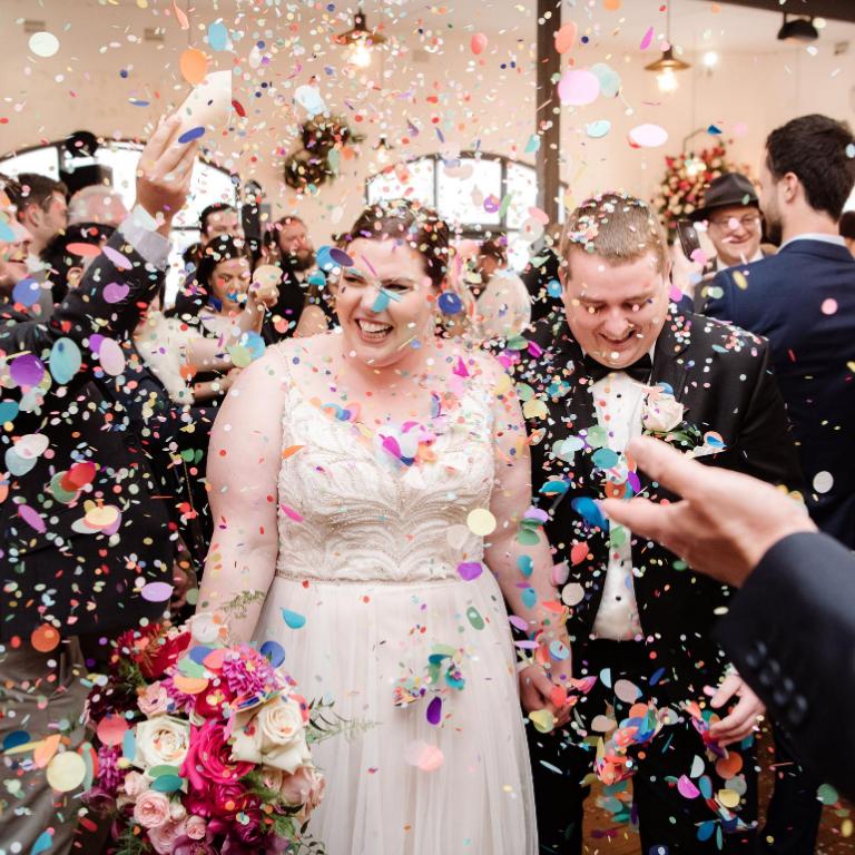 bride and groom aisle walk
