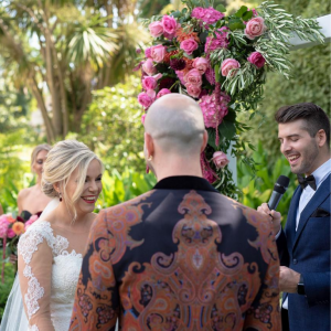 bride smiling in wedding ceremony